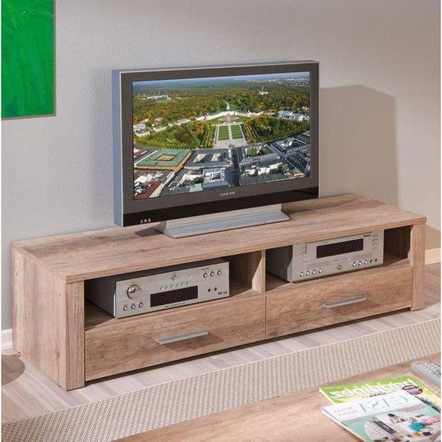 Inside 75 Meuble Tv Absoluto 2 tiroirs et 2 niches en bois chene brut
