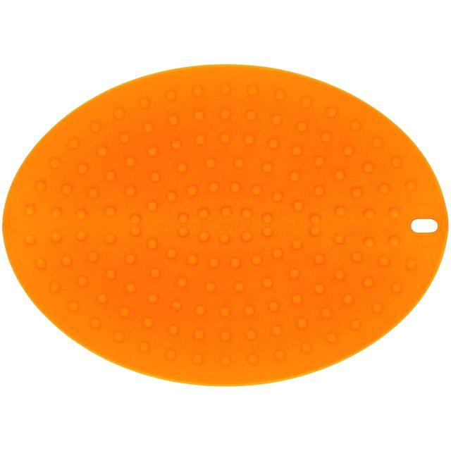 Promobo Dessous De Plat Manique Ovale Double Fonction Deux En Un Silicone Tonique Orange