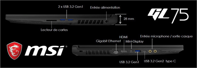 MSI GL75 - Réseau et connectique