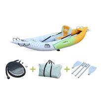 """- Canoë kayak gonflable 1 place Betta K0 10'3"""" - 3,12m bateau monoplace eaux vives ou eau de mer avec gonfleur, pagaie, sac de rangement"""