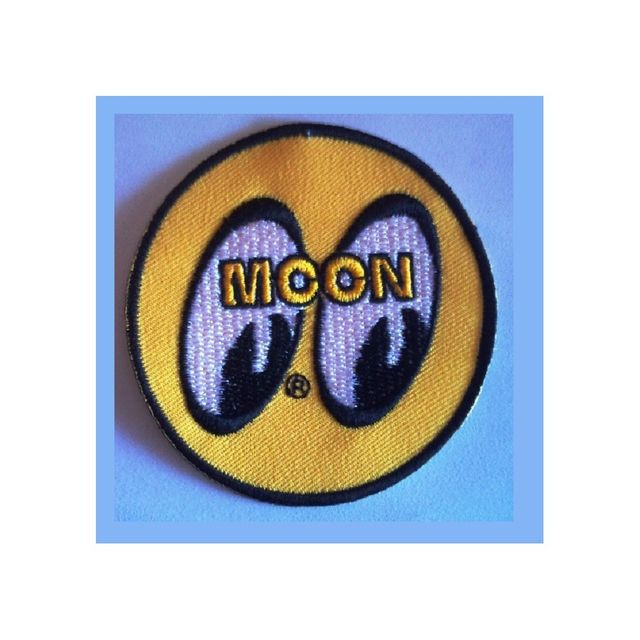 Universel Patch moon eyes rond jaune ecusson thermocollant hot rod