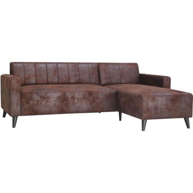 Icaverne Canape - Sofa - Divan Eneko Canapé d'angle fixe 3 places - Simili Marron - L 197 x P 138 x H 65 cm