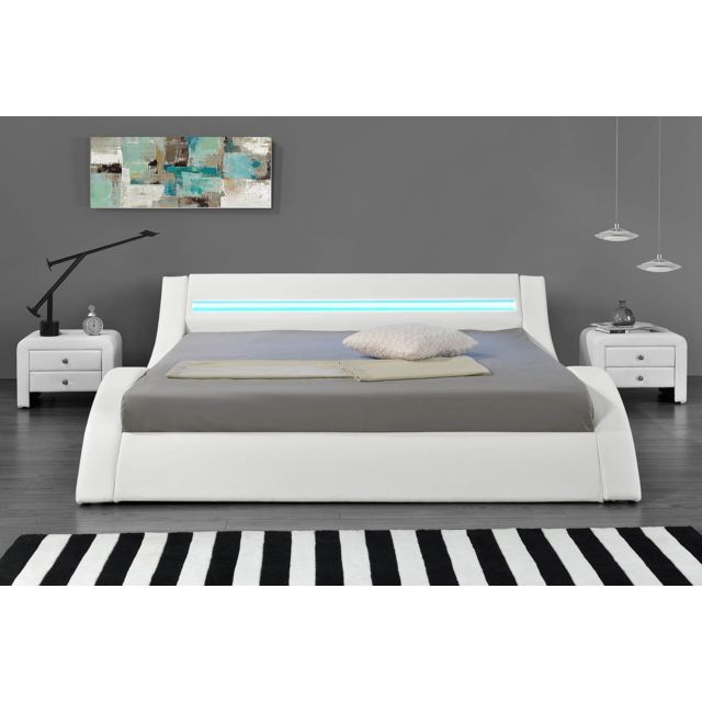 HYPNIA Lit Design LED Blanc X Cm Pas Cher Achat Vente - Lit design led 140x190