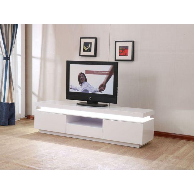 HABITAT ET JARDIN Meuble TV LED Ruth - 170 x 40 x 45.5 cm - Blanc laqué