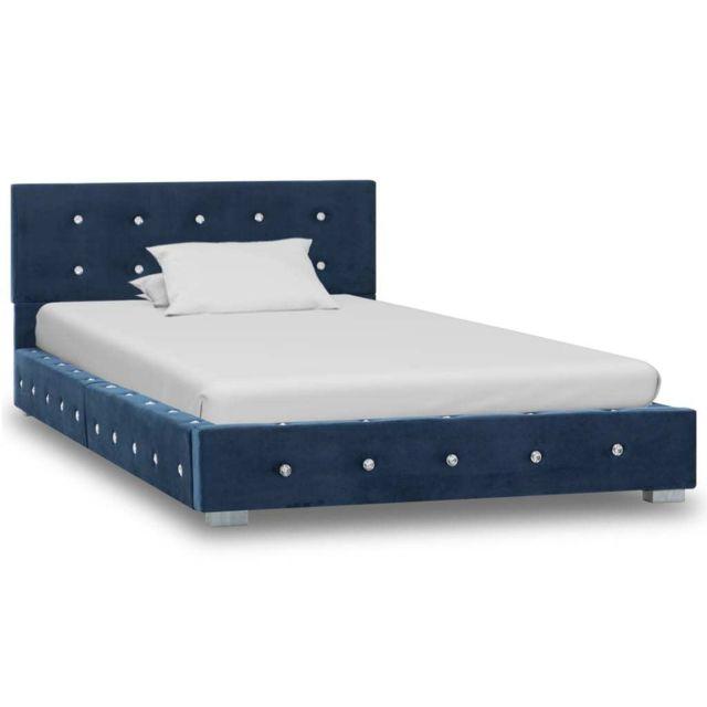 Uco Cadre de lit Bleu Velours 90 x 200 cm