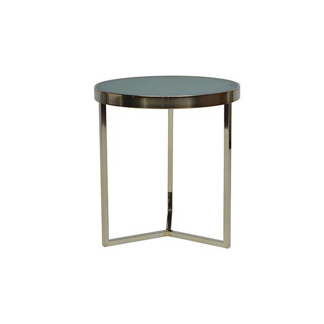 Table basse ronde miroir acier bronze