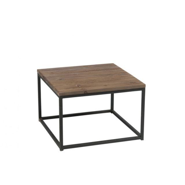 J Line Table Basse Bois Brut Et Métal Noir Marron 60cm X 60cm