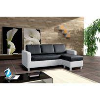 Relax design - Canapé Nora canapé d'angle noir/blanc sofa divan