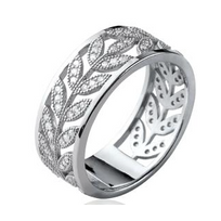 Collection Zanzybar - Bague alliance femme en argent et brillants rameau dâ olivier, Collection- Zanzybar. Taille - 54