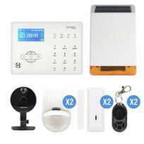 IPROTECT - alarme GSM pour maison avec sirène sans fil solaire avec caméra IP Foscam C1