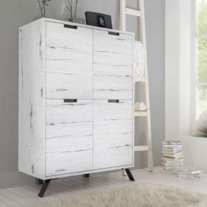 tousmesmeubles vaisselier armoire de salon 4 portes ch ne blanchi palerme pas cher achat. Black Bedroom Furniture Sets. Home Design Ideas