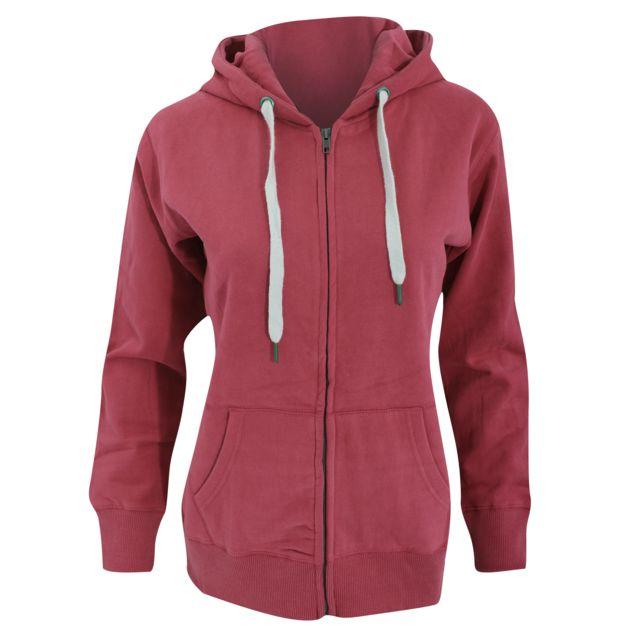 MANTIS Sweat-shirt à capuche et fermeture zippée - Femme M - Fr 40, Bordeaux Utbc2691
