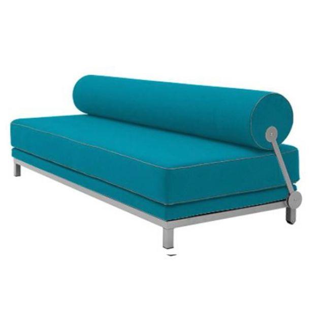 Inside 75 Canapé lit convertible design Sleep en tissu laine bleu azur structure aluminium Softline