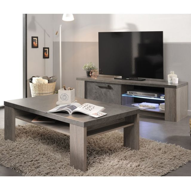 altobuy beth ensemble table basse et meuble tv marron. Black Bedroom Furniture Sets. Home Design Ideas