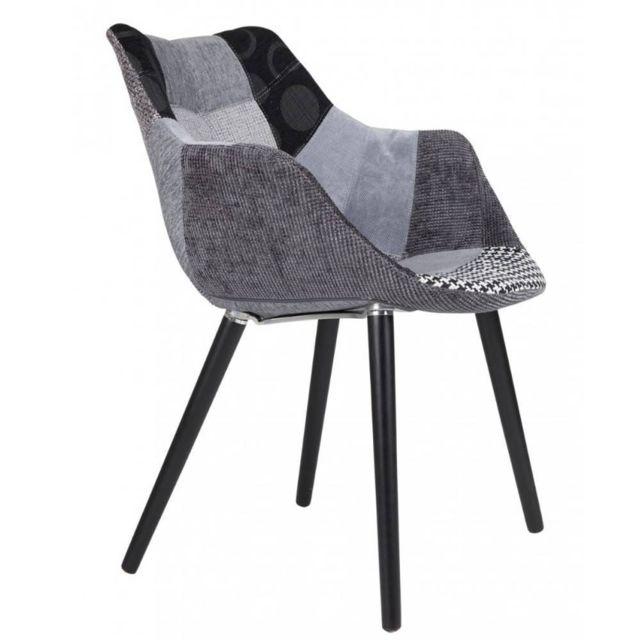Inside 75 Zuiver Fauteuil Twelve patchwork gris et noir