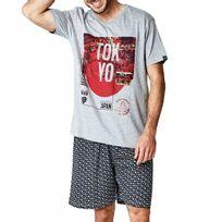 Arthur - Pyjama court Sushi : tee-shirt col V gris chiné à imprimé Tokyo et bermuda noir à motifs sushis
