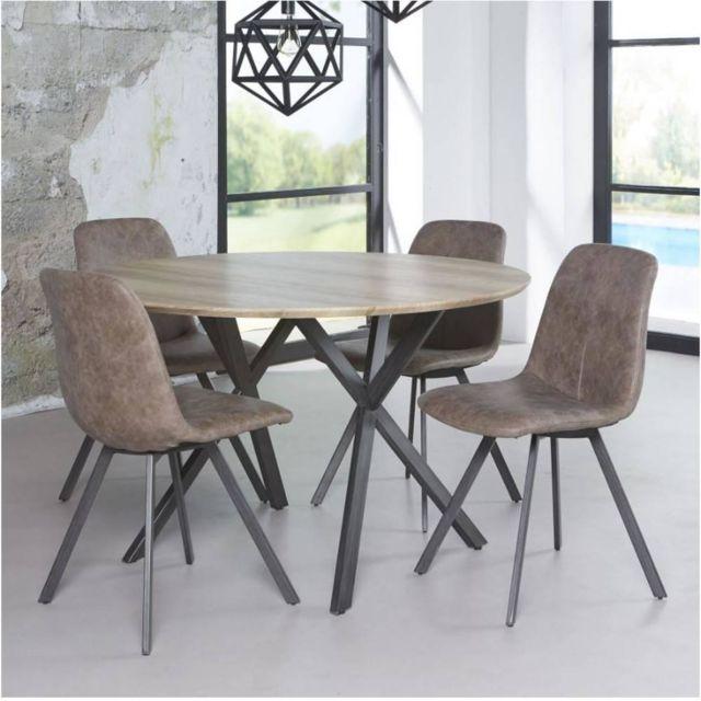 Inside 75 Table repas Diego 120cm plateau effet chêne antique piétement acier noir