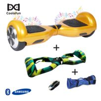 COOL AND FUN - COOL&FUN Hoverboard Batterie Samsung Enseigne Bleutooth, gyropode 6,5 pouces Doré + Housse de Protection Vert Militaire + Sac de transport
