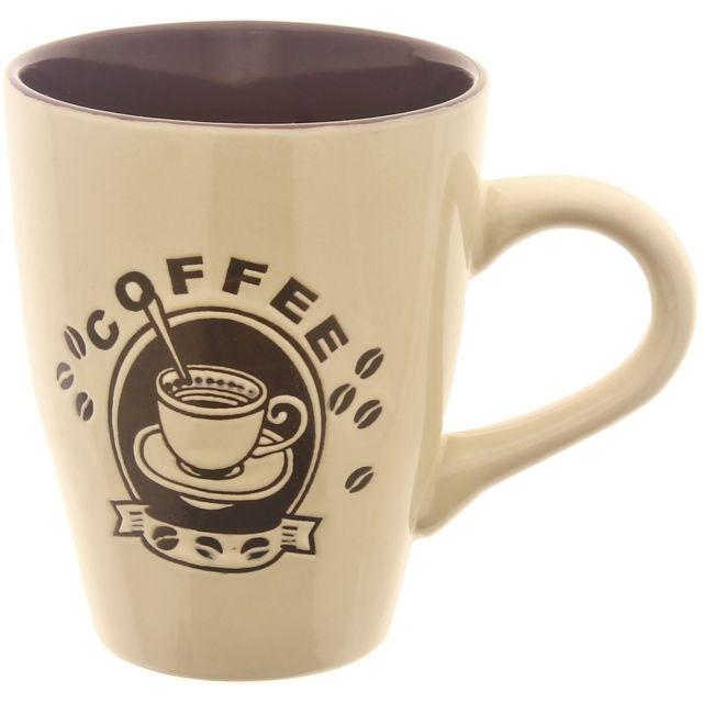 Promobo Mug Tasse A Café 300ml Design Pub Vintage Chic Coffee Beige