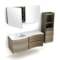 - Ensemble meuble vasque bois ondulé L120cm + 2 armoires de toilette + colonne Fairway