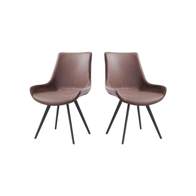La Maison Du CanapÉ Chaise Design Noor - Marron clair - Lot de 2