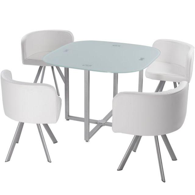Giovanni Ensemble Table de repas Design Malaga blanc