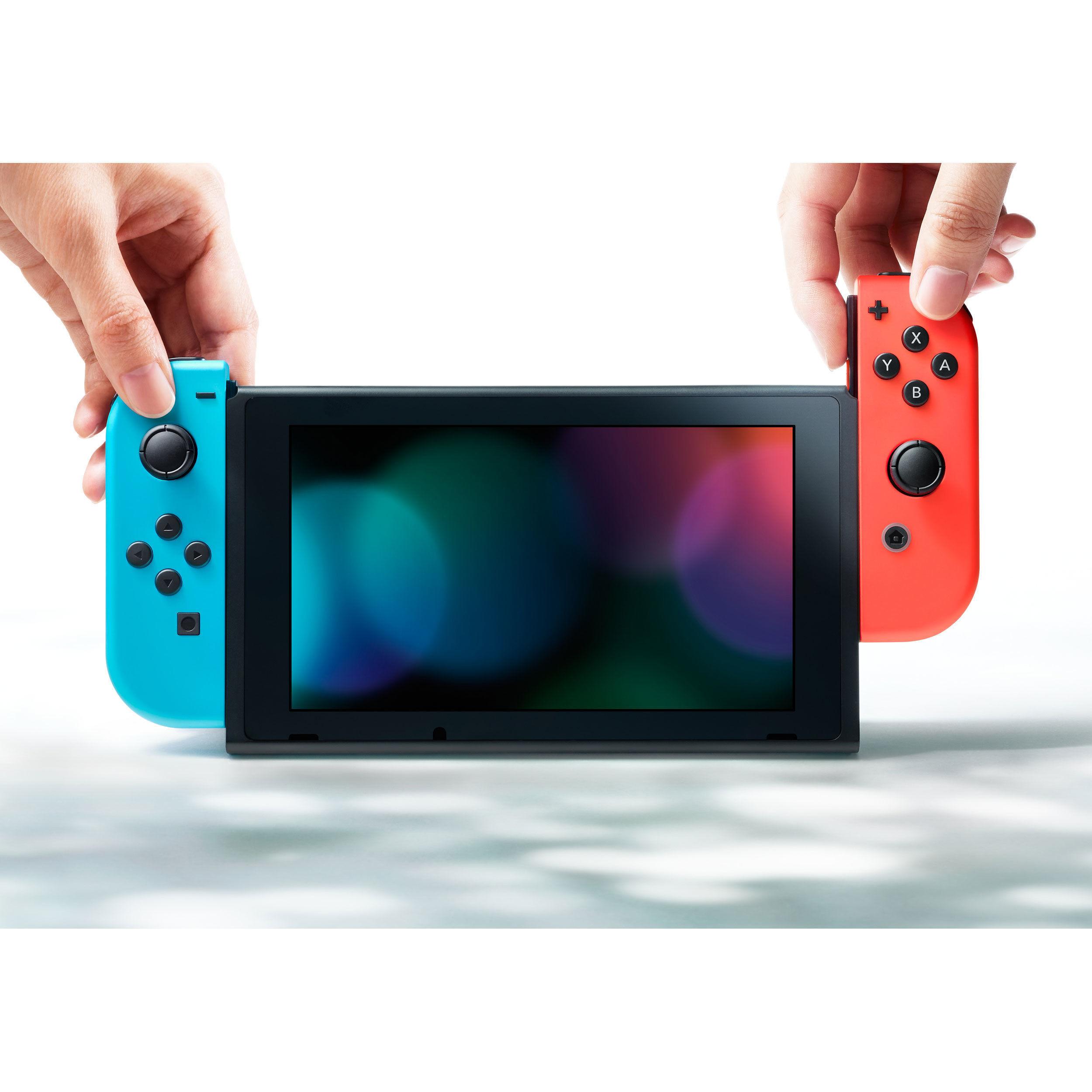 Paire de manettes Joy-Con gauche bleue néon & droite rouge néon