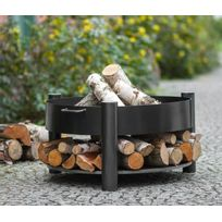 Farm - Mdlt - Brasero de jardin Solafa avec range bois en acier noir Ø: 70cm