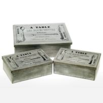 Revimport - Boites en Zinc 1 Grande et 2 Petites ''A Table