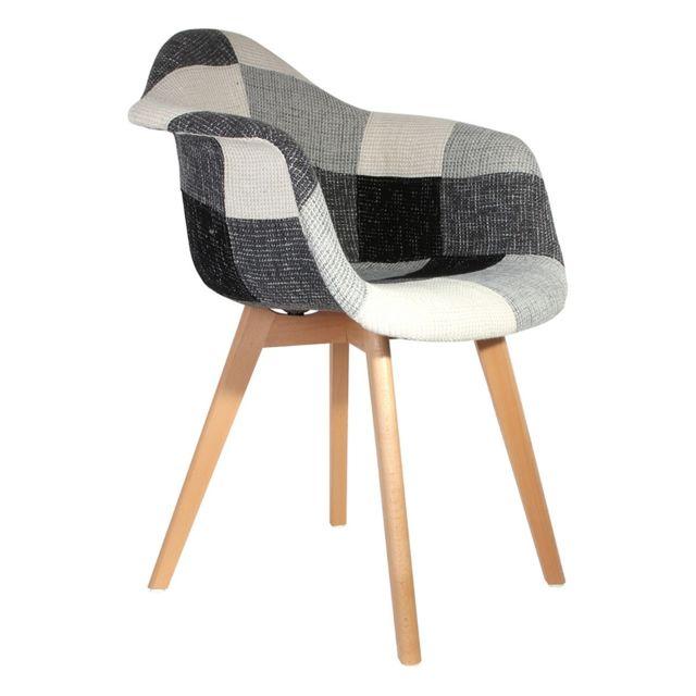 les douces nuits de ma fauteuil scandinave patchwork gris multicolore pas cher achat. Black Bedroom Furniture Sets. Home Design Ideas