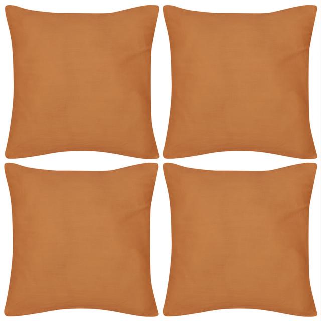 Rocambolesk Superbe 4 Taies d'oreiller Orange en coton 80 x 80 cm neuf