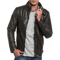 Deeluxe - Blouson homme noir effet cuir zippé avec poches