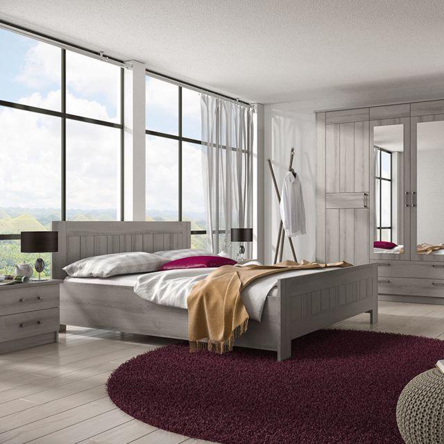 Nouvomeuble Chambre adulte contemporaine couleur chêne gris Luana