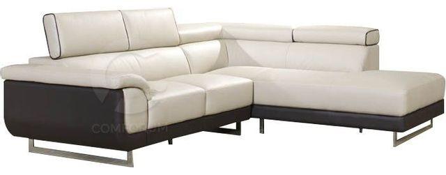 Comforium Canapé d'angle en cuir coloris beige et noir avec pieds chromés