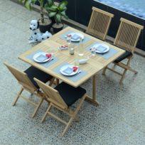 Table de jardin avec trou pour parasol - Achat Table de jardin avec ...