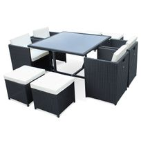 Salon de jardin Vasto Noir table en résine tressée 4 à 8 places, fauteuils encastrables