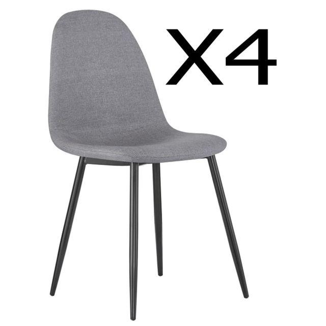 Pegane Lot de 4 chaises de salle à manger en acier et