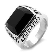 Bijoux&M - Bague chevalière Acier inoxydable motif grecque sertie d'onyx noir