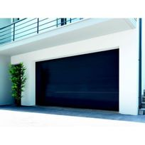 Sonnier Bois Panneaux Menuiserie   Porte De Garage Sectionnelle Motorisée  Finition Anthracite Avec 4 Panneaux Lisses