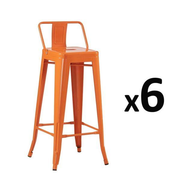 Lot De 6 Tabouret De Bar Pas Cher.Zons Lot De 6 Tabouret Bar Design Industriel Orange Pas