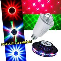Lytor - Pack 2 Jeux de lumière Effet Ovni + Ampoule effet Rouge/Vert 8 motifs E27 mode musical