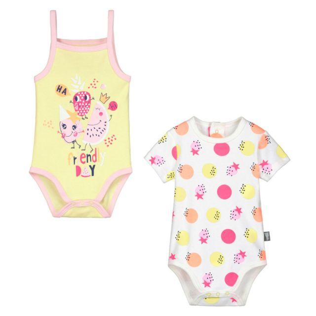 4d46803d73c14 Petit Beguin - Lot de 2 bodies manches courtes et débardeur bébé fille Mini  Party -