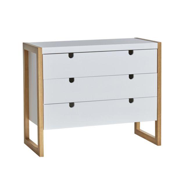 Tousmesmeubles Commode 3 tiroirs Blanc/Chêne - Odile