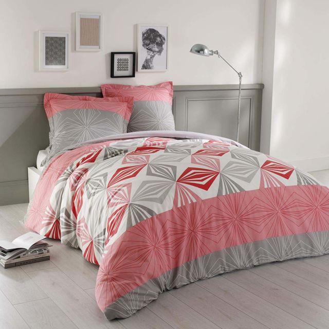 soldes vision housse de couette louise 240x260cm 2 taies 100 coton gris 260cm x 240cm. Black Bedroom Furniture Sets. Home Design Ideas