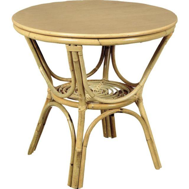 AUBRY GASPARD Table ronde en rotin et dessus mélaminé 70 cm