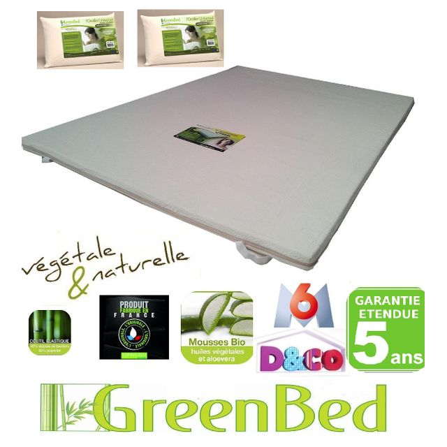 greenbed pack confort un surmatelas m moire de forme 160x200 esp 6cm 2 oreillers m moire. Black Bedroom Furniture Sets. Home Design Ideas