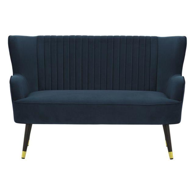 MILIBOO Banquette design en velours bleu VERTIGO