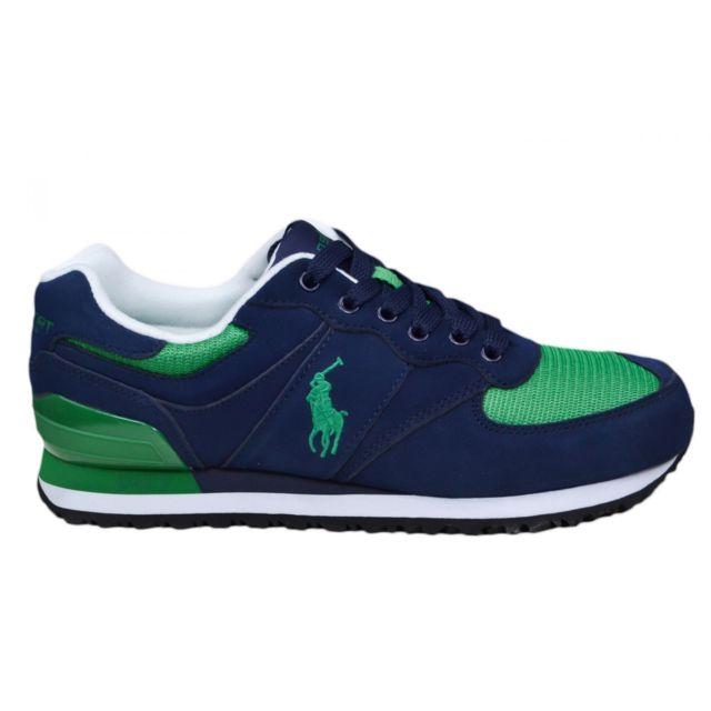 5273a701ec407 Ralph Lauren - Baskets Slaton bleu marine et verte pour homme - pas cher  Achat   Vente Baskets homme - RueDuCommerce
