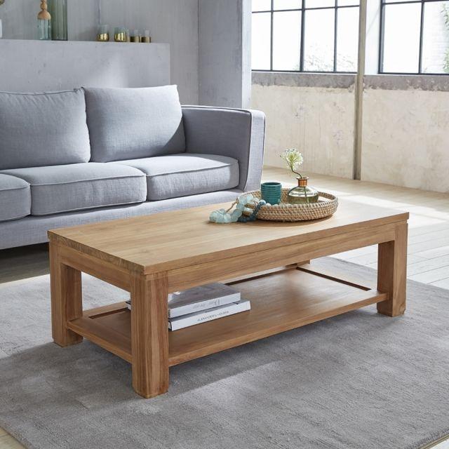 bois dessus bois dessous table basse en bois de teck double plateau 120 pas cher achat. Black Bedroom Furniture Sets. Home Design Ideas
