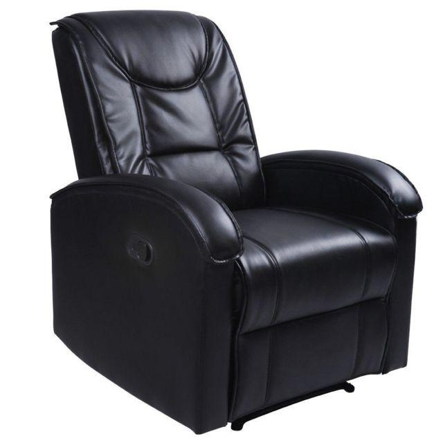 Helloshop26 Fauteuil de relaxation détente tv avec repose pied noir 1701002